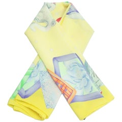 Leonard Yellow and Multicolor Elephant Circus Silk Print Scarf