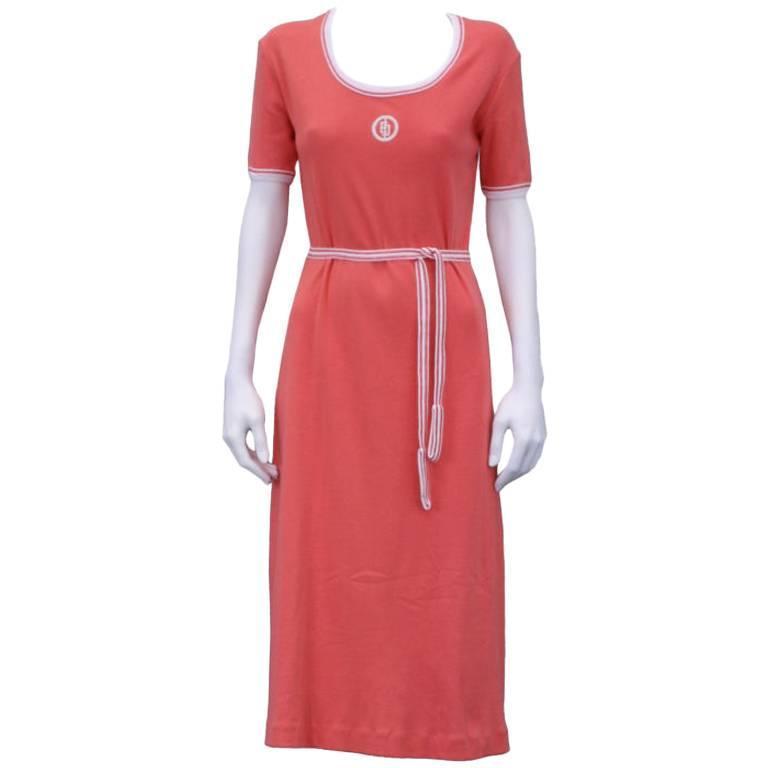 Emilio Pucci Cotton Jersey Salmon Pink Logo Dress