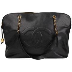 1996 Chanel Black Caviar Vintage Jumbo Timeless Shoulder Bag