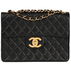 1997 Chanel Black Quilted Lambskin Vintage Jumbo XL Flap Bag