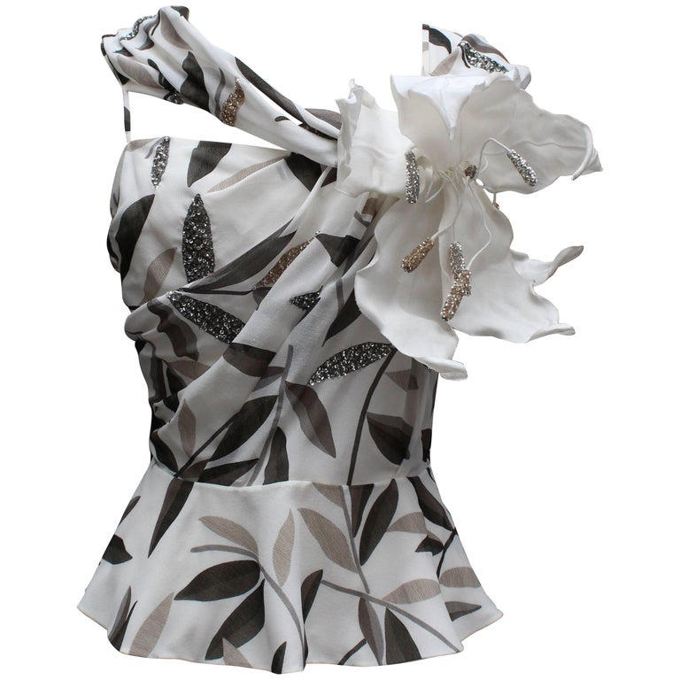 Christian Dior asymmetrical evening top in off-white chiffon and flowers