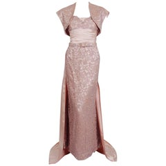 1952 Pierre Balmain Couture Pale-Pink Silk Lace Strapless Trained Gown Ensemble