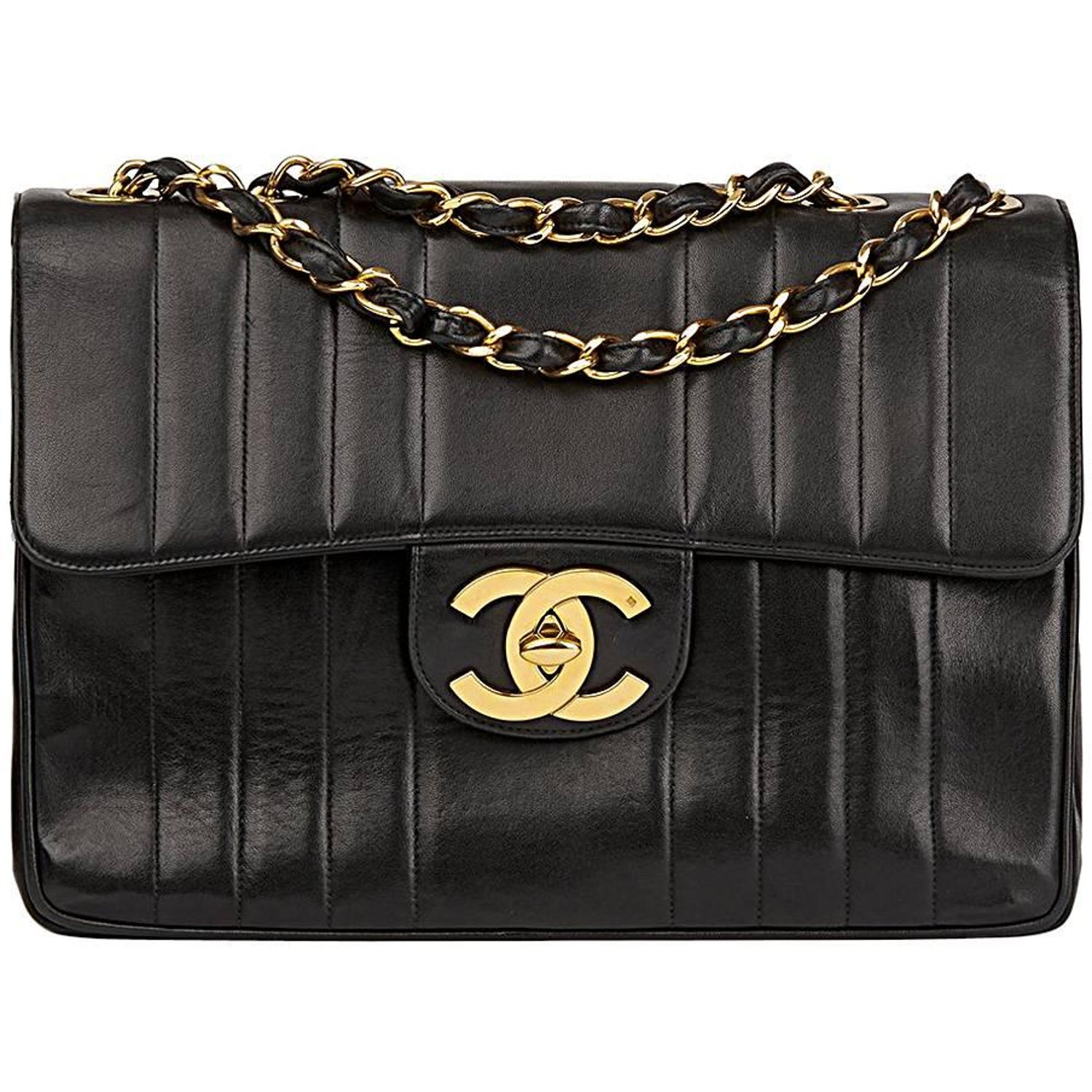 9cf2d4d5b180 1995 Chanel Black Vertical Quilted Lambskin Vintage Jumbo XL Flap Bag at  1stdibs