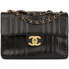 1995 Chanel Black Vertical Quilted Lambskin Vintage Jumbo XL Flap Bag