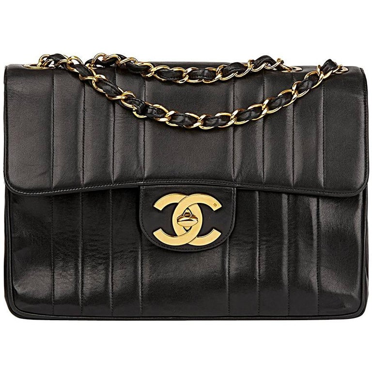 a25a8efd18f1 1995 Chanel Black Vertical Quilted Lambskin Vintage Jumbo XL Flap Bag For  Sale.