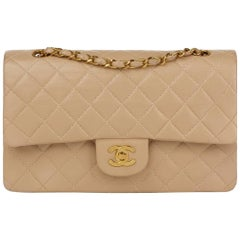 1995 Chanel Biege Quilted Lambskin Leather Medium Classic Double Flap Bag
