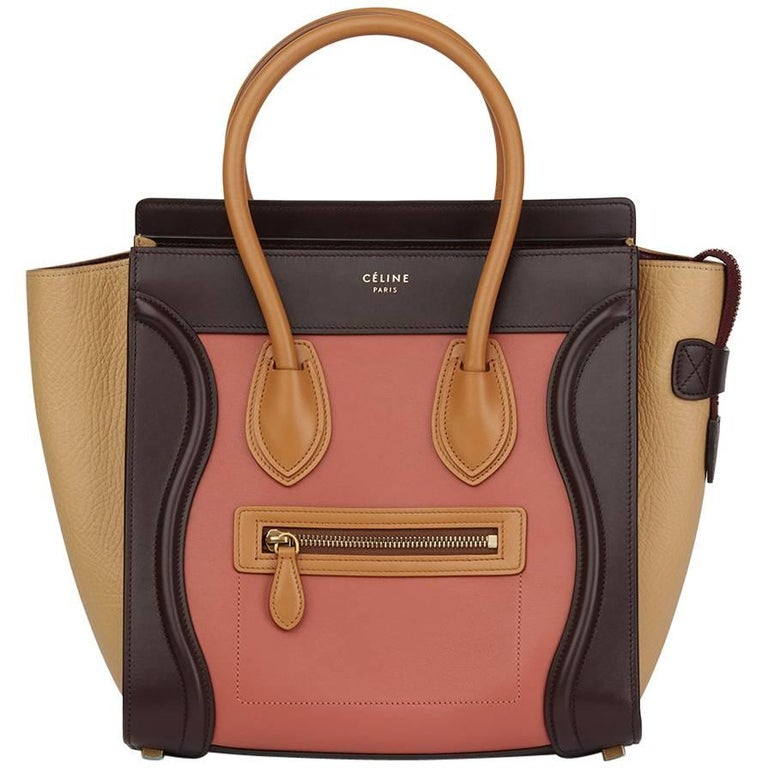 2015 Celine Terracotta Smooth & Elephant Calfskin Leather Micro Luggage Tote