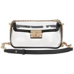 2013 Chanel Black Patent Leather & Transparent PVC Naked Boy Flap Bag