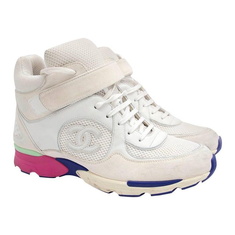 Chanel White Hi Top Sneakers - EU Shoe Size 41