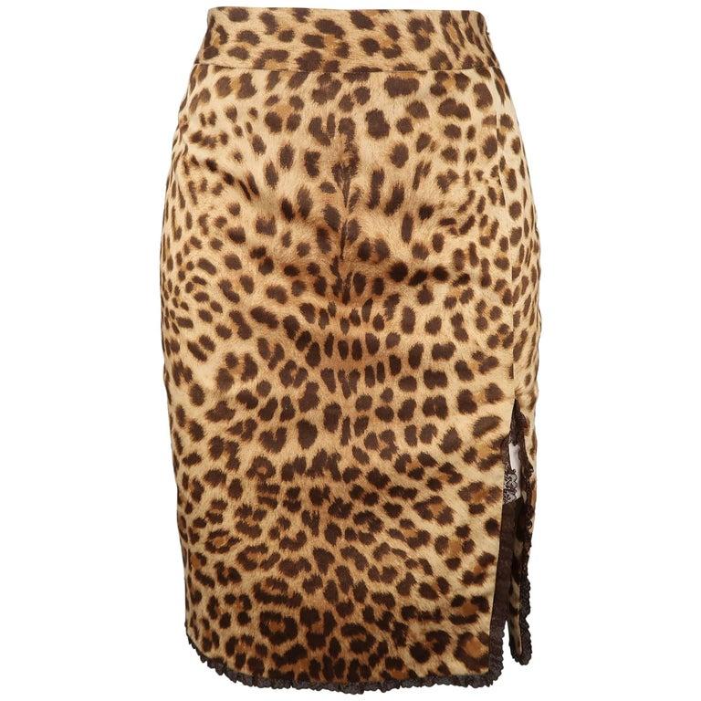BLUMARINE Size 2 Cheetah Print Brown Lace Trim Pencil Skirt