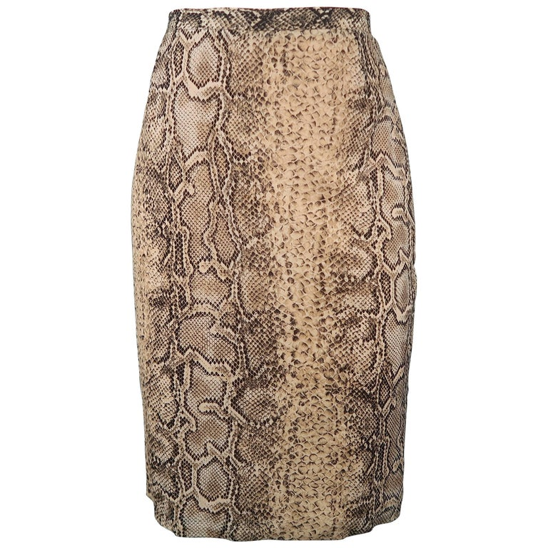 DOLCE & GABBANA Size 6 Beige Snake Print Silk Chiffon Pencil Skirt