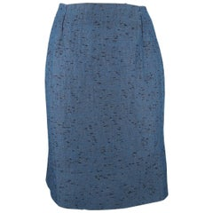 VALENTINO Size 6 Blue Textured Taffeta Pencil Skirt