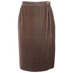 Missoni Taupe Silk Blend Velvet Zip Side Pencil Skirt