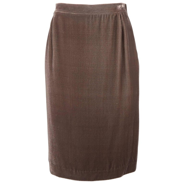 Missoni Taupe Silk Blend Velvet Zip Side Pencil Skirt