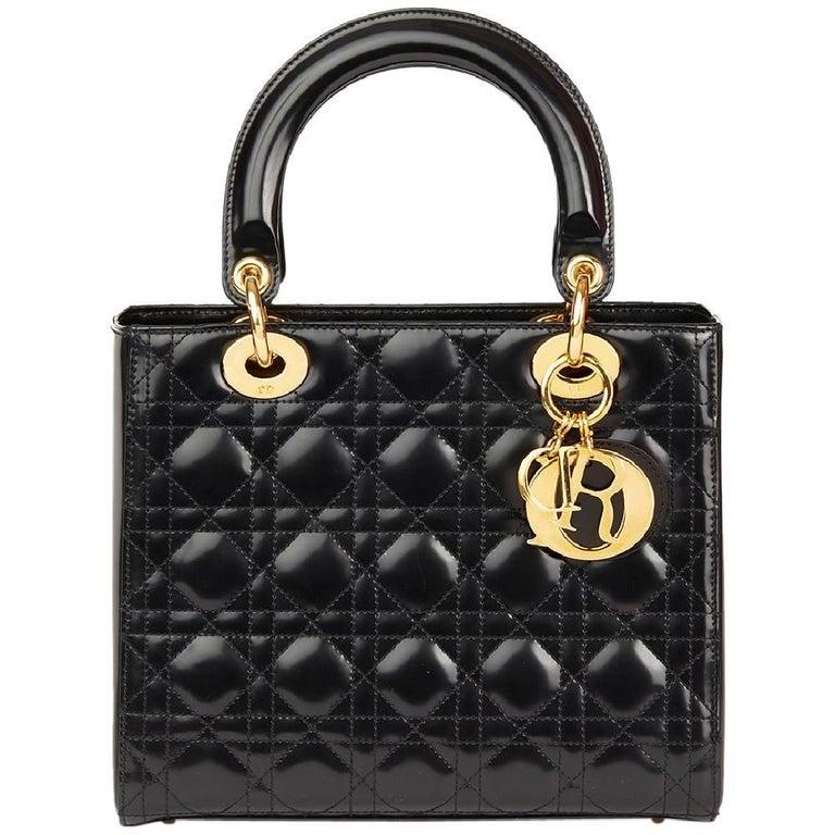 2003 Christian Dior Black Quilted Glazed Calfskin Leather Medium Lady Dior