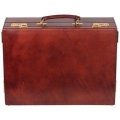 Asprey London Vintage Brown Leather Detachable Briefcase Work Bag
