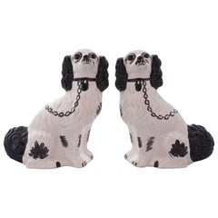 Pair Modern Black and White Staffordshire Hand Painted Pottery Dogs