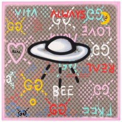 """GUCCI Fall 2016 Trouble Andrew """"Guccighost"""" GG Monogram UFO Graffiti Silk Scarf"""