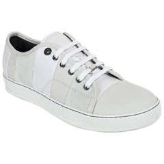 Mens Lanvin White Calfskin Leather Suede Striped Lace Up Sneakers