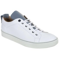 Mens Lanvin White Calfskin Two Tone Lace Up Low Top Sneakers