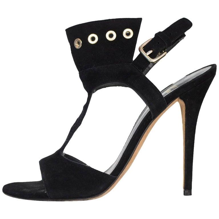 Stuart Weitzman Black Suede T-Strap Sandals Sz 7.5