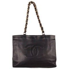 Chanel Vintage Black Leather Logo Gold Chunky Chain Large Shopping Bag