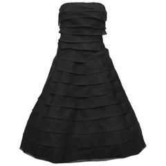 1980s Victor Costa Black Tiered Chiffon Strapless Cocktail Dress
