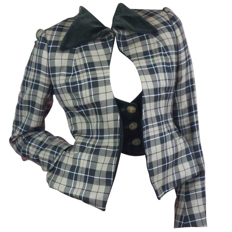 Vivienne Westwood Gold Label Tartan Waistcoat Jacket from AW1997 Size US  6
