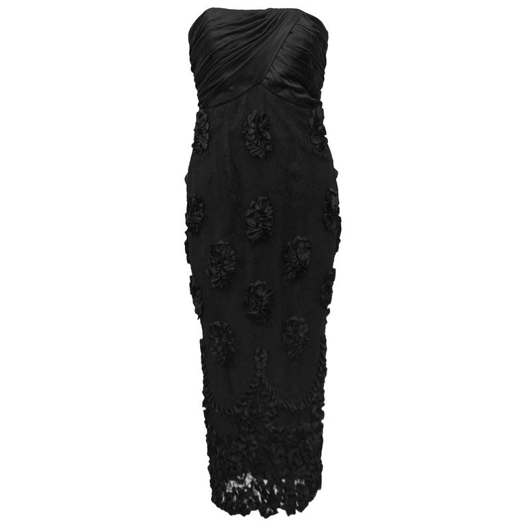 1960s Black Strapless Cocktail Dress with Lace and Floral Applique Skirt