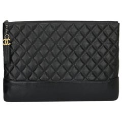 CHANEL Black Calfskin Large O Case-Pouch 2017