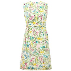 1960s Boussac of France Cotton Floral Day Dress with Bow Belt Detail