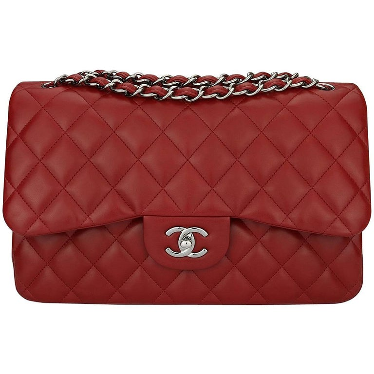 59b0f76ca6c72a CHANEL Double Flap Jumbo Lipstick Red Lambskin with Light Gunmetal Hardware  2014 For Sale