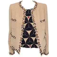Cultured Chanel 2 Piece Beige Wool Blend Enhanced Large Sequins & Faux Pearls