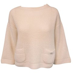 Cozy Chanel Ivory Cashmere Crochet Sweater