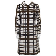 1960s Mod Style Cream, Brown, Grey and Black Windowpane Coat