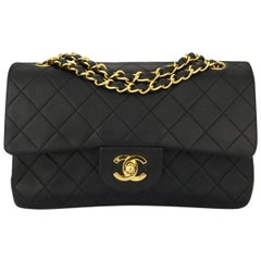 CHANEL Vintage Quilted Double Flap Small Black Lambskin with Gold Hardware 1991