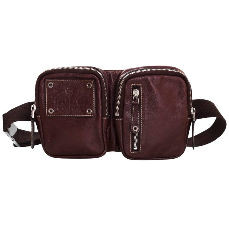 d2219c879aa Gucci Brown Leather Double Waist Pouch Belt Bag Fanny Pack For Sale ...