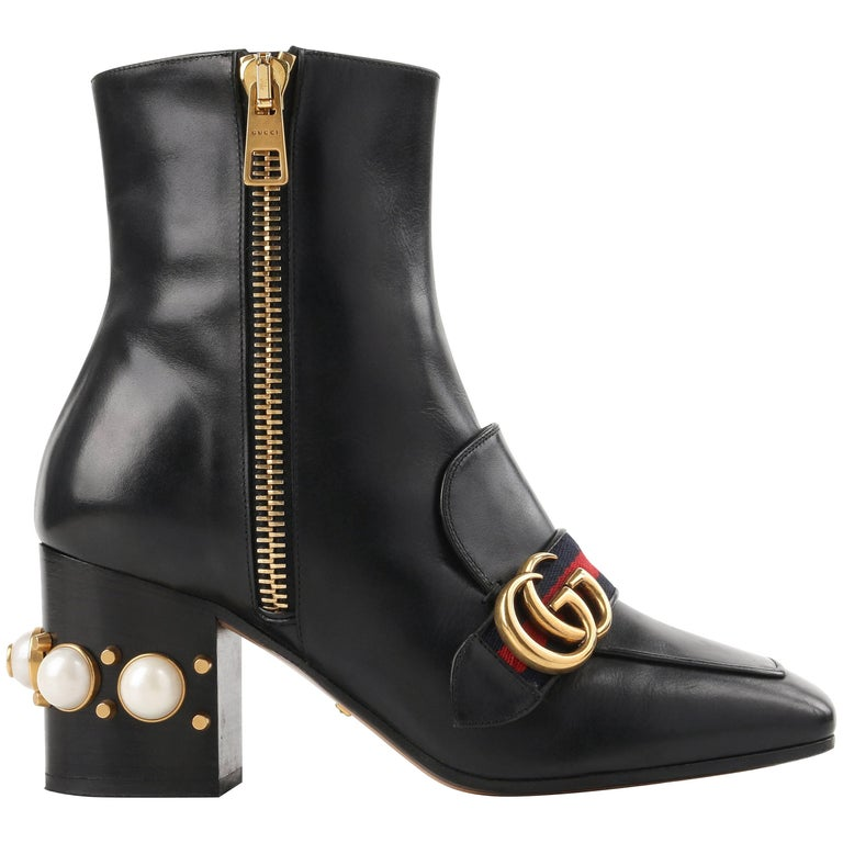 "GUCCI A/W 2016 ""Peyton"" Black Leather Pearl Heel GG Buckle Ankle Boots Booties"