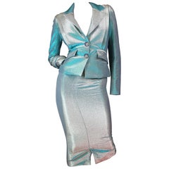 Vivienne Westwood Anglomania Green Lurex Skirt Suit Size IT 40 / US 4