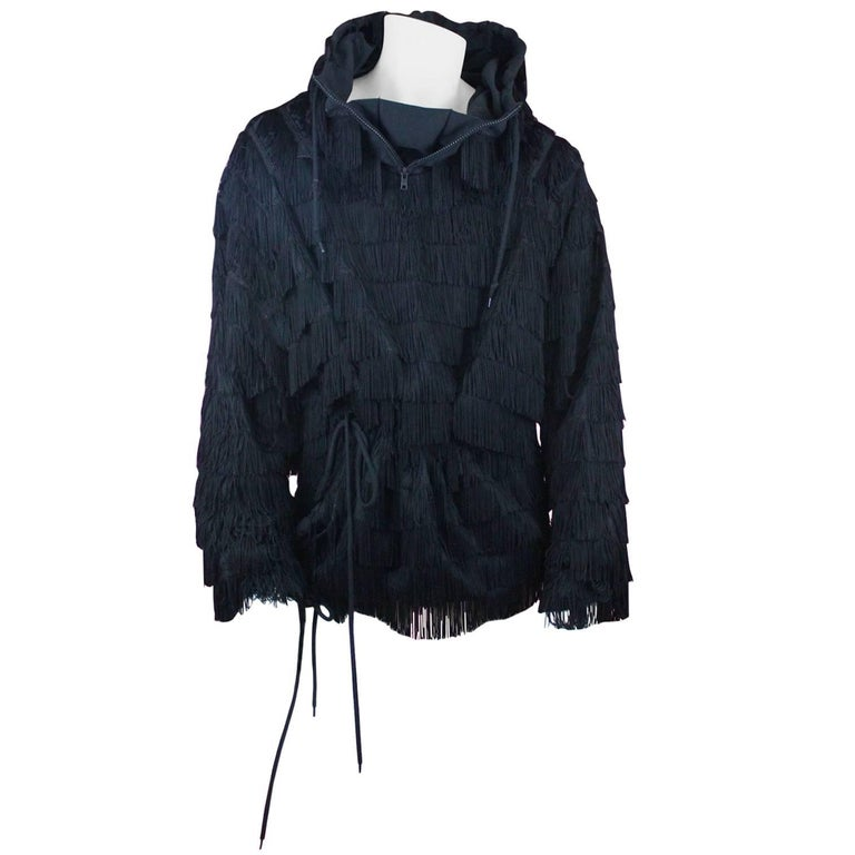 Jeremy Scott for ADIDAS Black Fringed Hoodie from SS2010 Size L