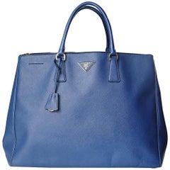 Prada Galleria Blue Saffiano Leather Tote Bag