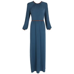 2014 A/H Prada Silk Crepe Long Sleeved Teal Blue Gown w/Brown Leather Trim