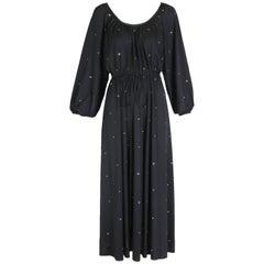 Donald Brooks Black Jersey Disco Dress With Rhinestones, 1970s