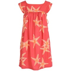 Bill Tice Orange and White Starfish Print Sleeveless Babydoll Sundress, 1970s
