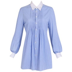 Junya Watanabe Blue and White Men's Style Pin Striped Open Back Shirt, c2016