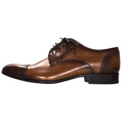 Lanvin Men's Brown Leather Oxford Shoes Sz 8 NIB