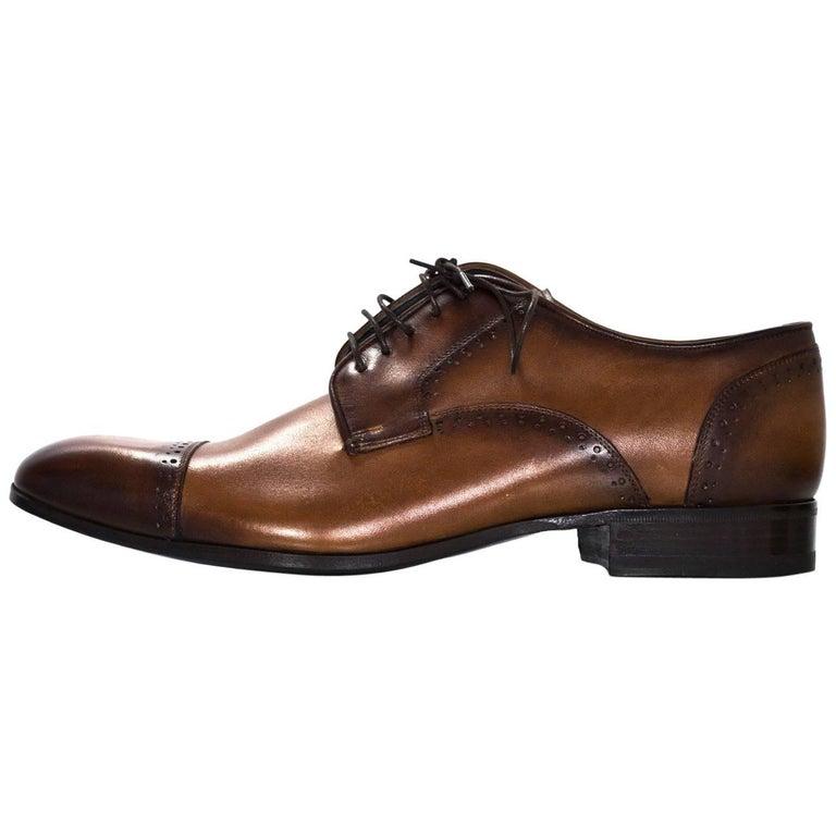 Lanvin Men's Brown Leather Oxford Shoes Sz 8 NIB