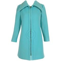 Pierre Cardin Aqua Blue Melton Wool Coat w/Space Age Mod Design Motif