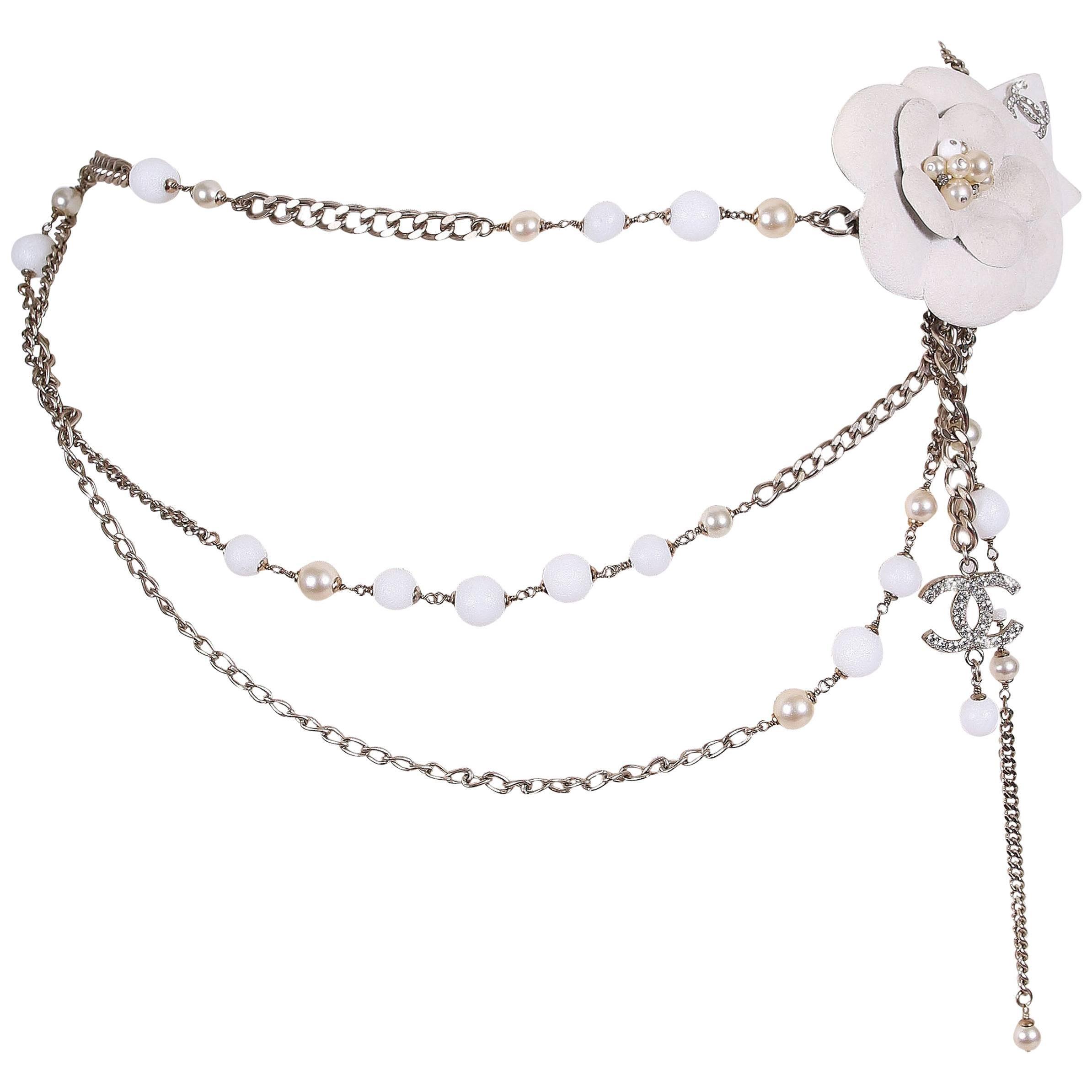 Chanel 2005 Chanel Silver Tone Chain & Bead Belt W/metal Camellia W/pearls ztufOZYxY