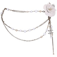 2005 Chanel Silver Tone Chain & Bead Belt w/Metal Camellia w/Pearls
